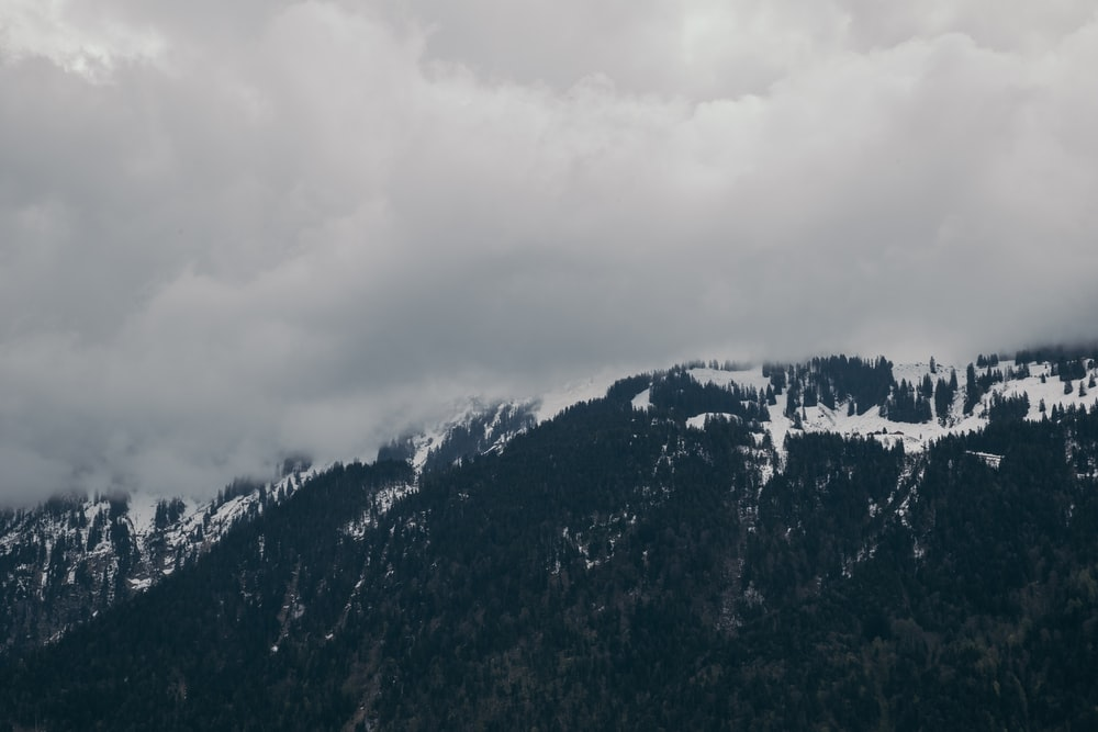 black mountain covered by snow