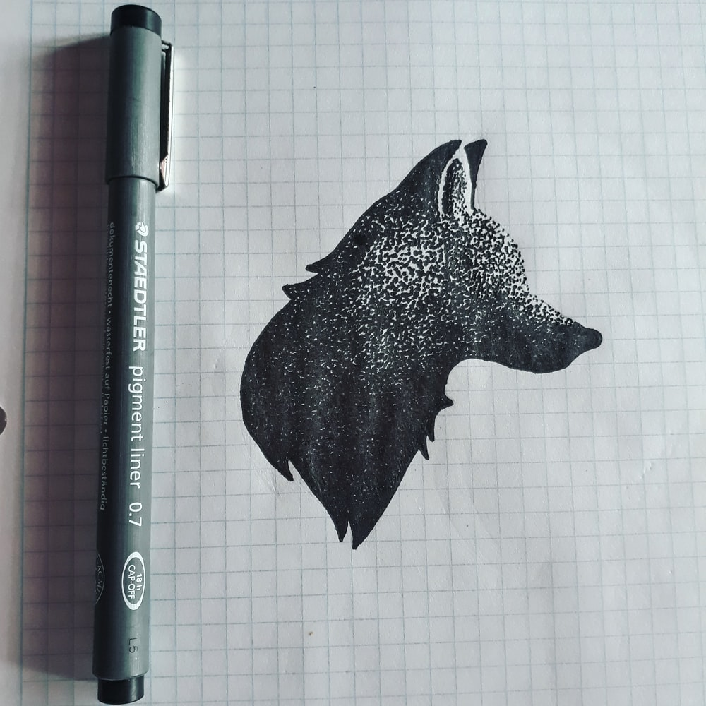 A fox drawn on graph paper with a black pen.