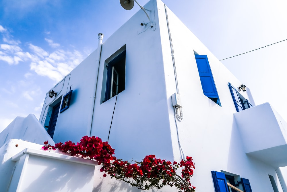 low angle view of white 2-storey house