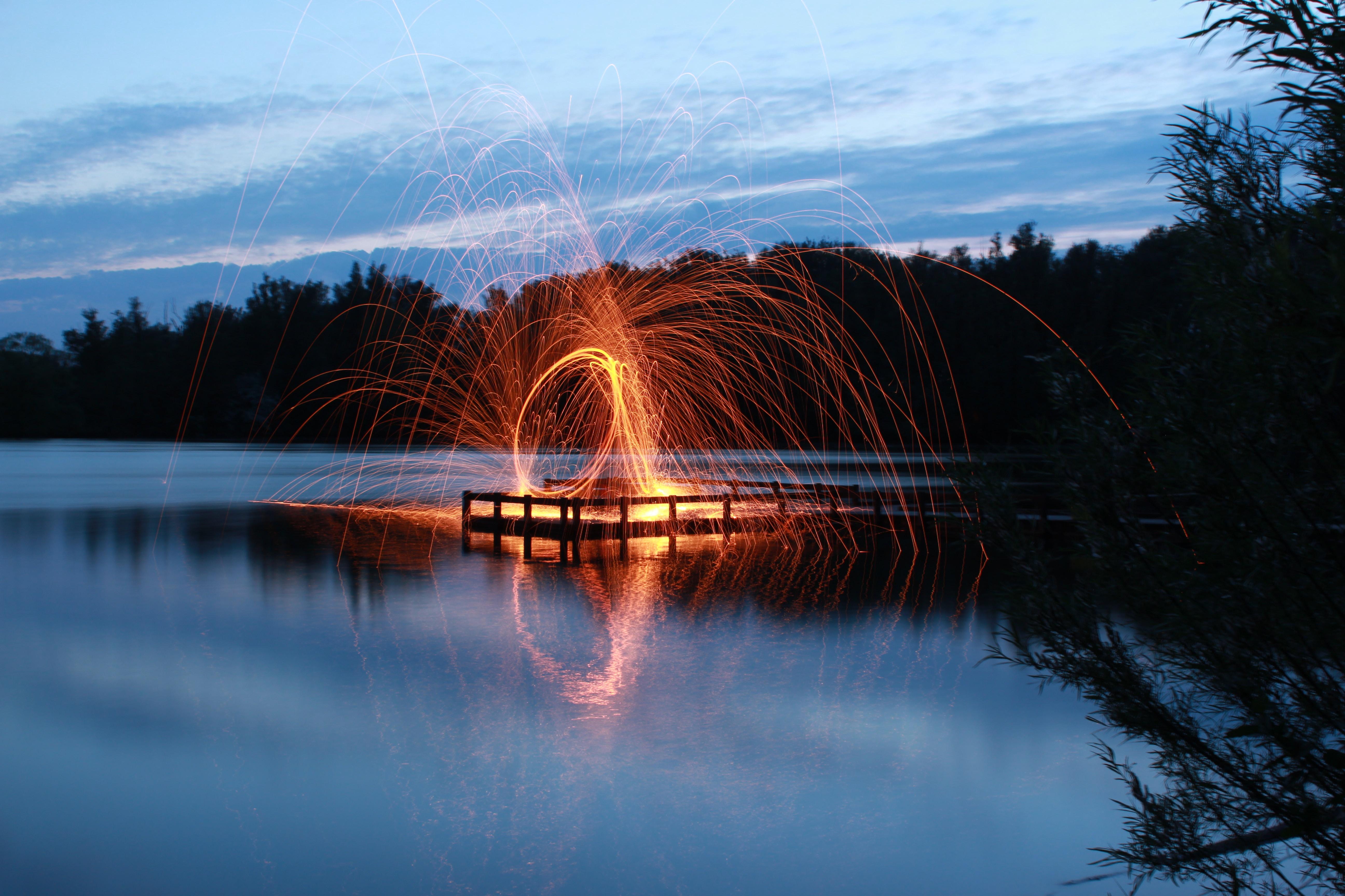 slow shutter photo of fire dance