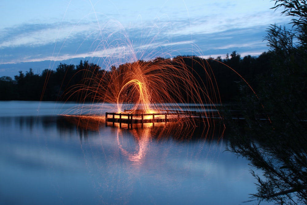 slow shutter photo of fire dance