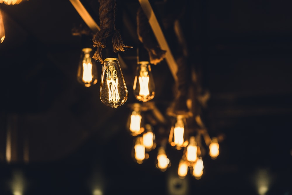 selective focus photography of rope lamp