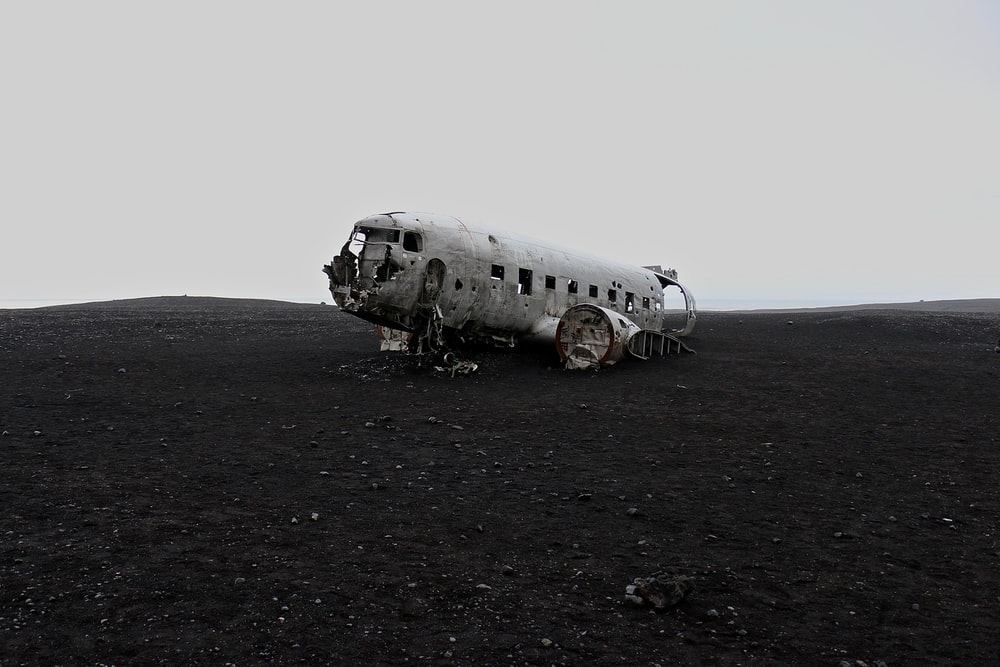 crushed gray airplane