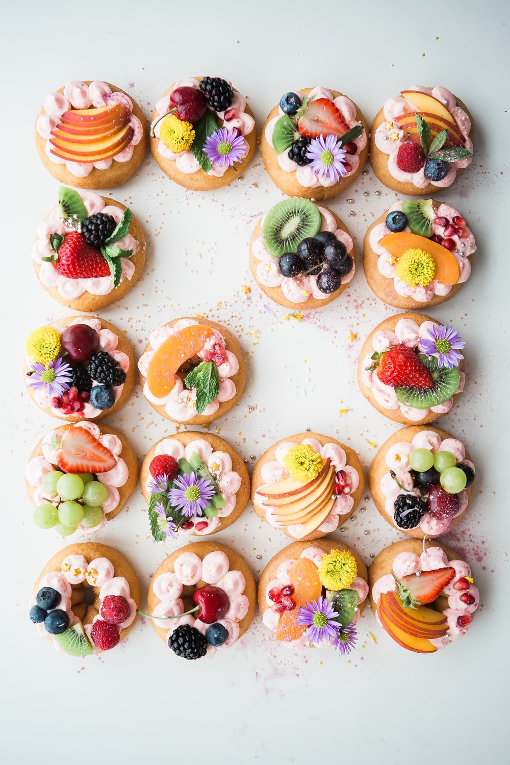 assorted donuts top of white area