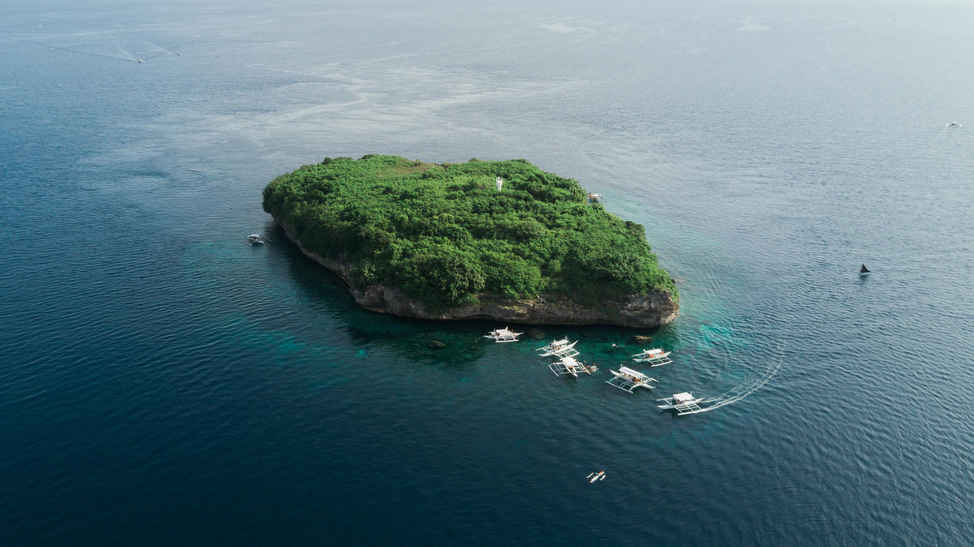 bird's eye view of island