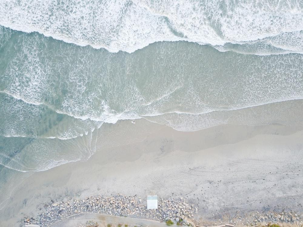 aerial photo of seashore at daytime