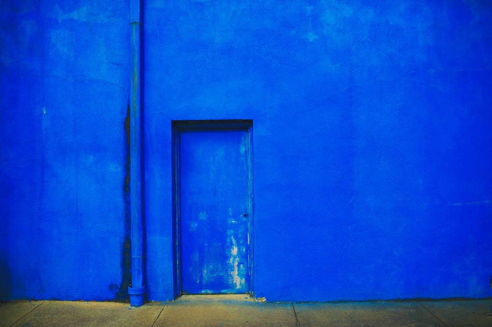 closed blue door