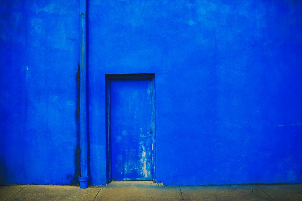 closed blue door