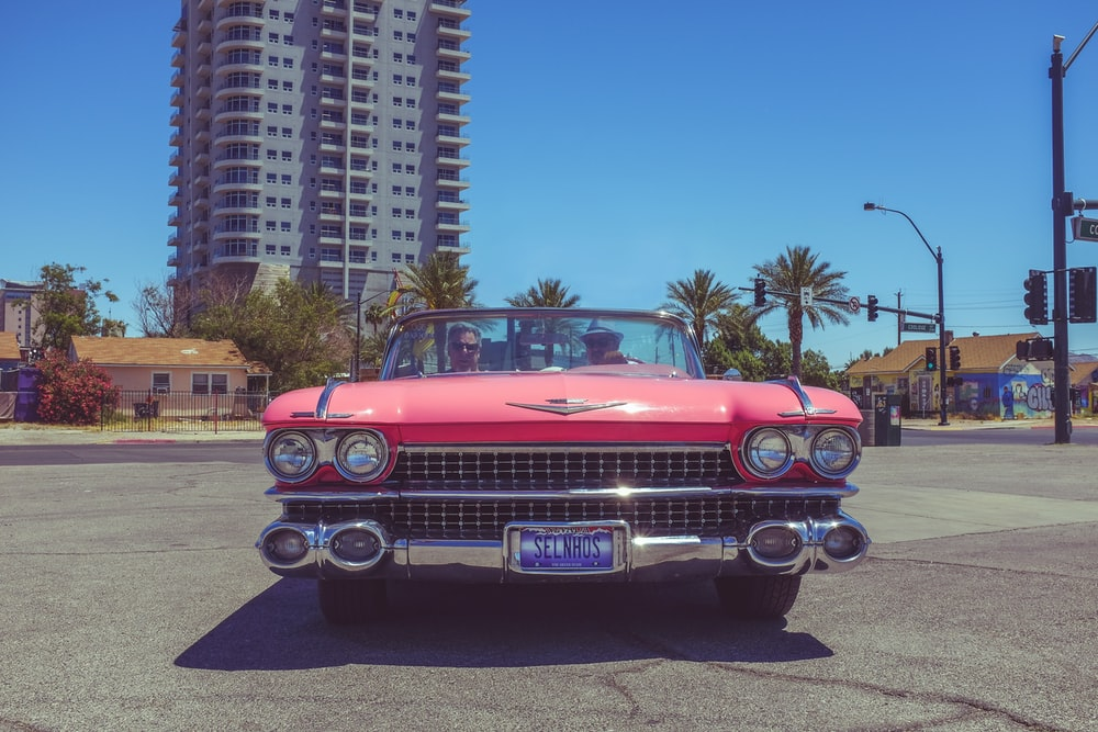classic red Chevrolet convertible coupe