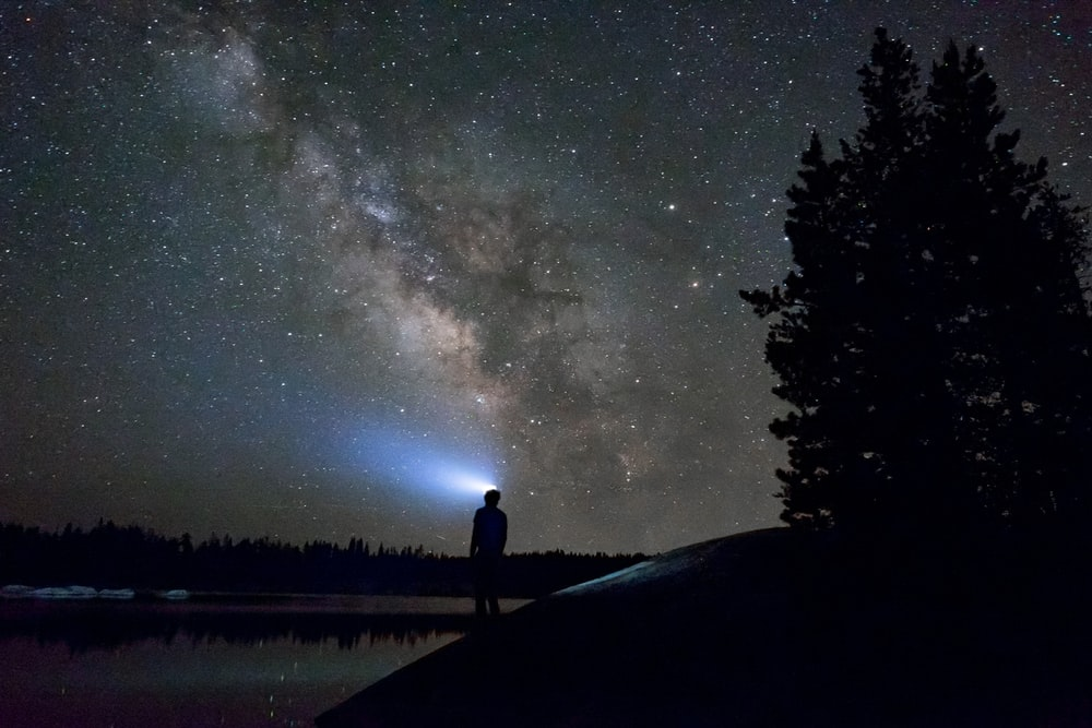 silhouette of man standing near body of water under night sky