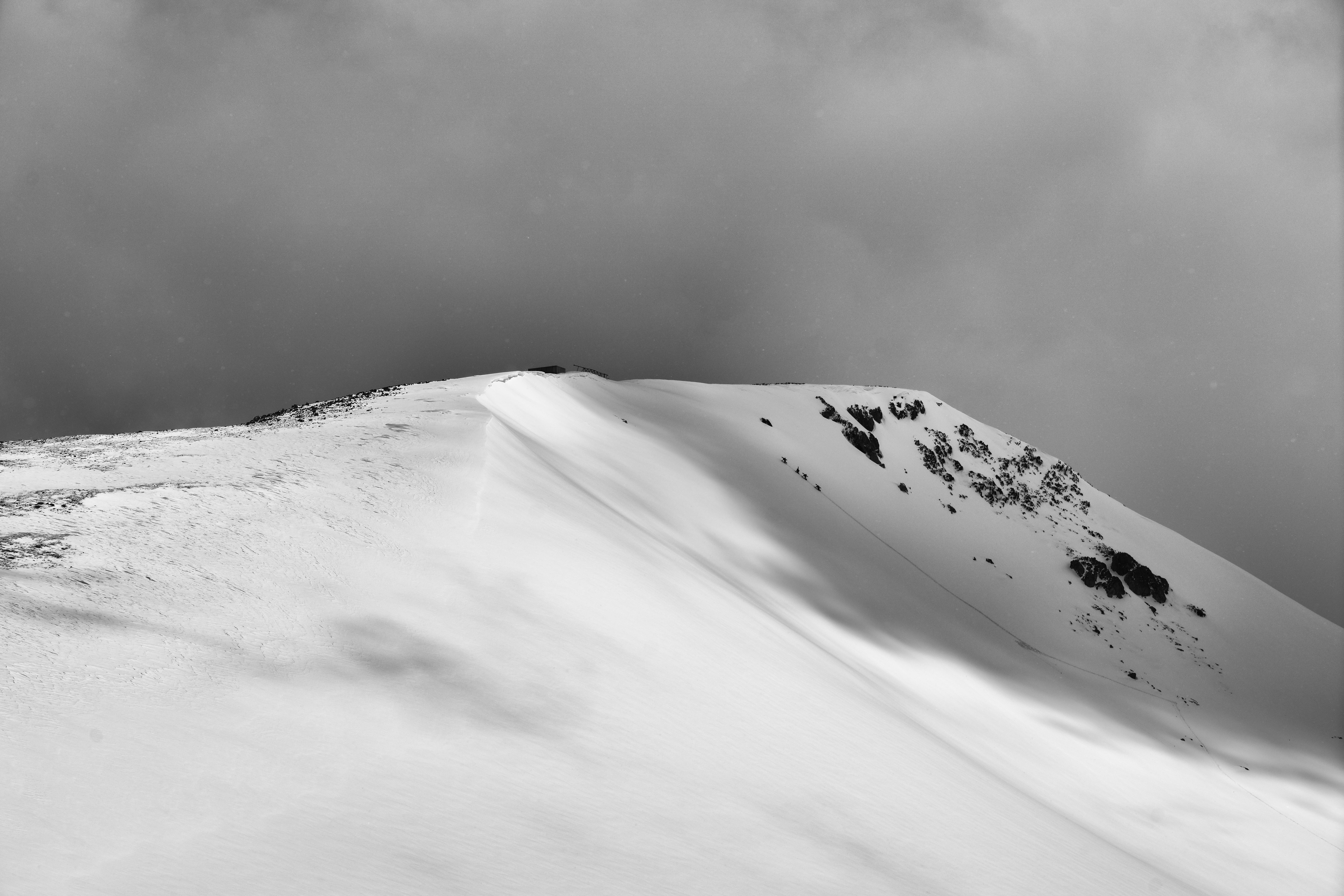 mountain under snow
