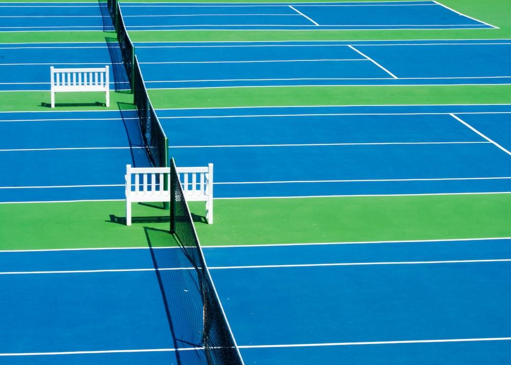 aerial photo of tennis court