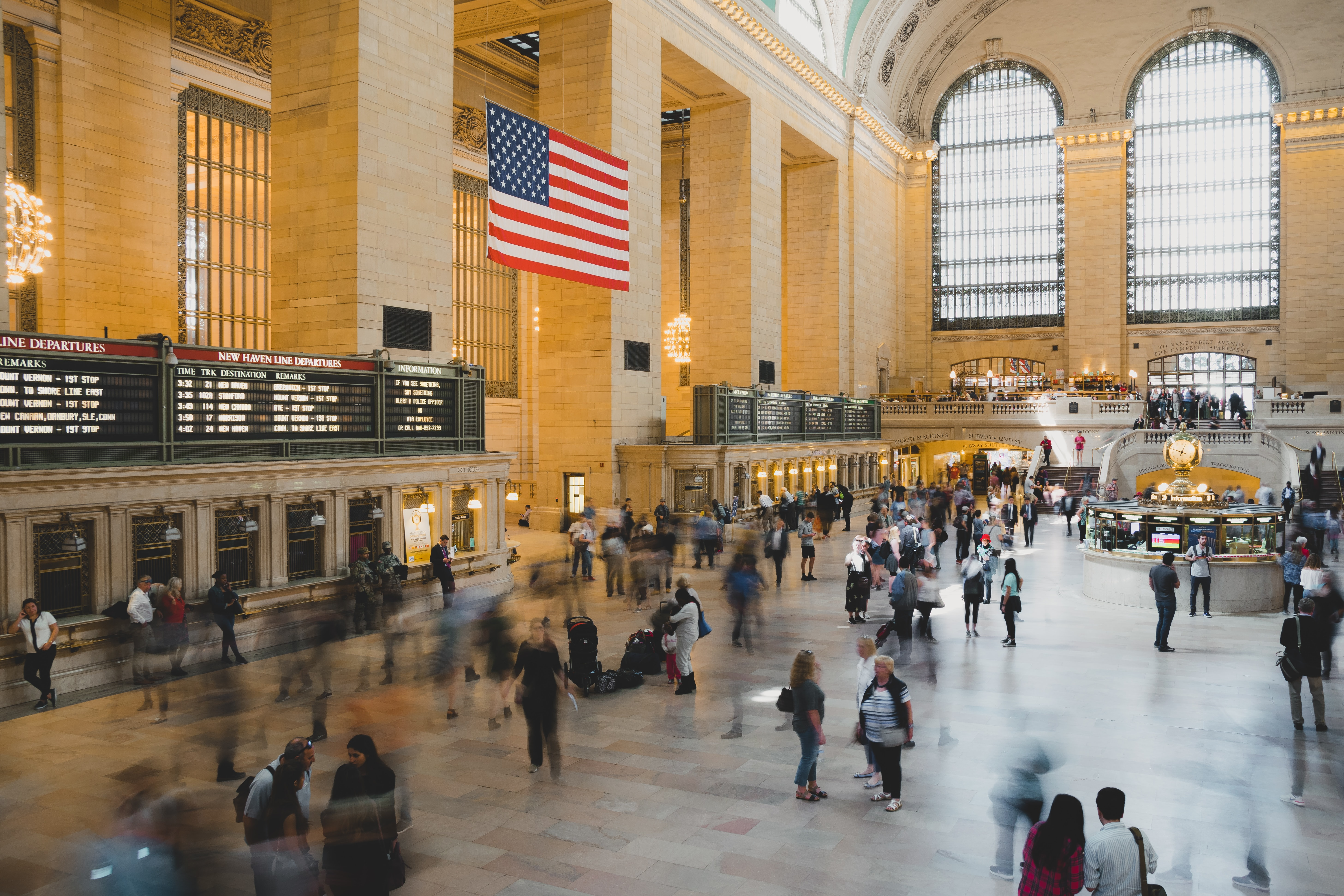 A blurred shot of a pedestrian movement time lapsed at Grand Central Terminal
