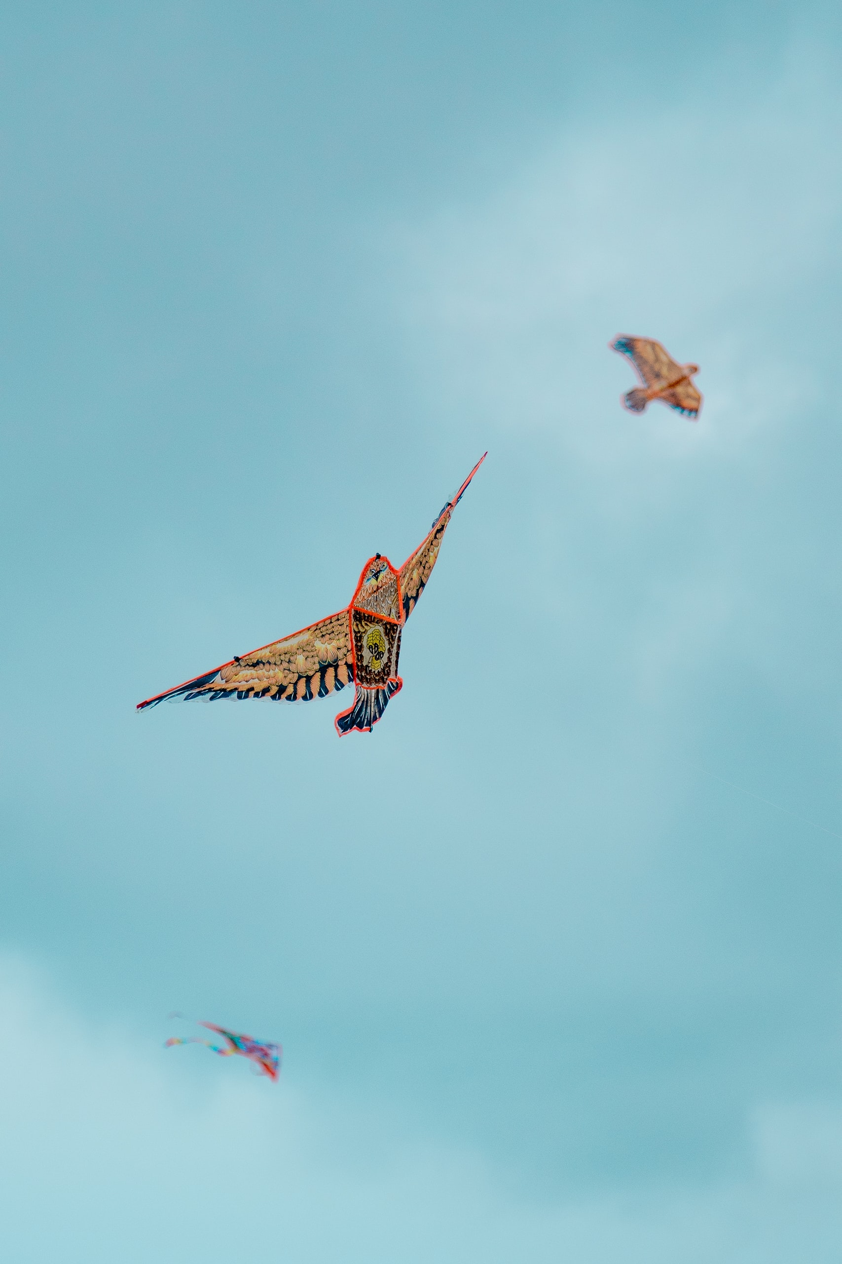 tilt shift lens photography of three kites