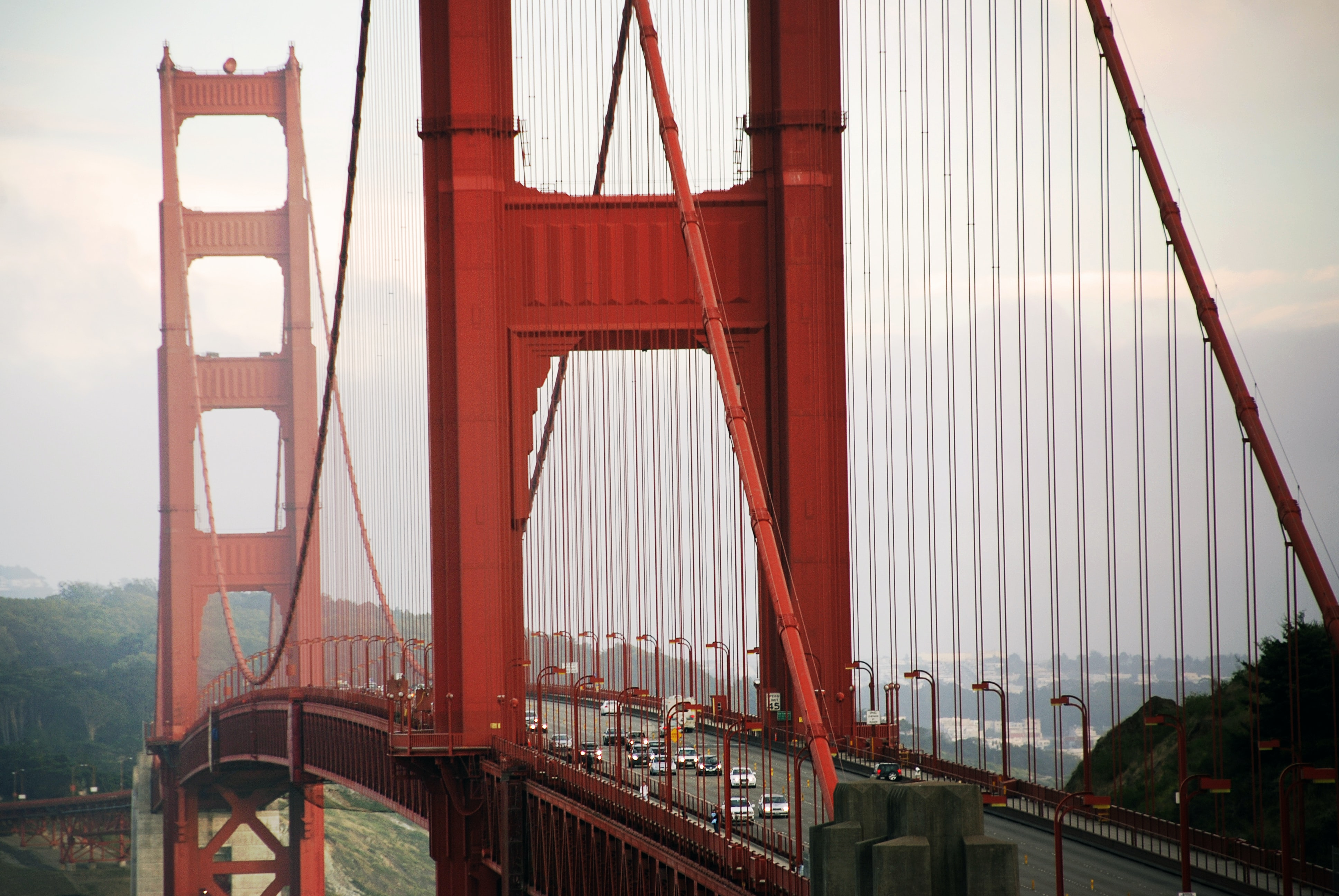 Traffic drives over Golden Gate Bridge