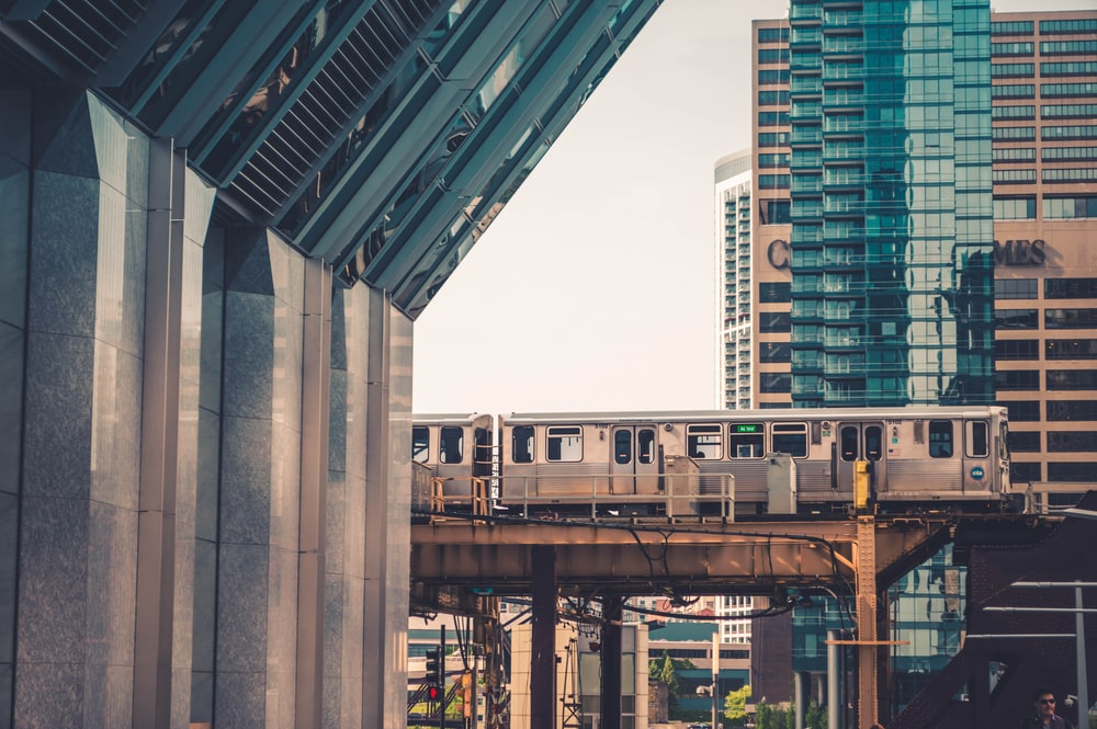 architectural photography of train and buildings
