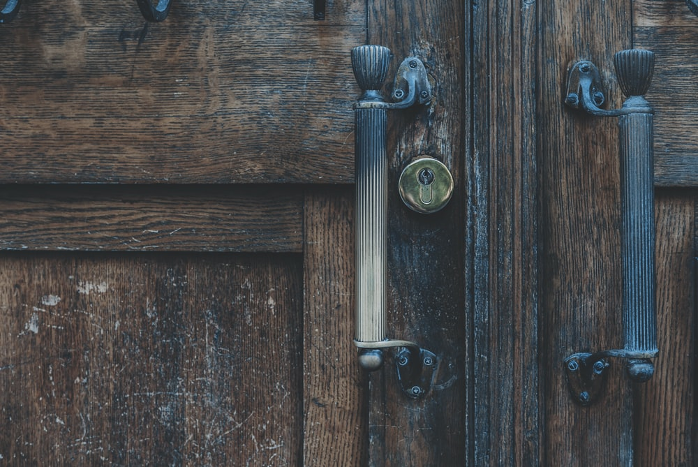 brown wooden side-by-side door