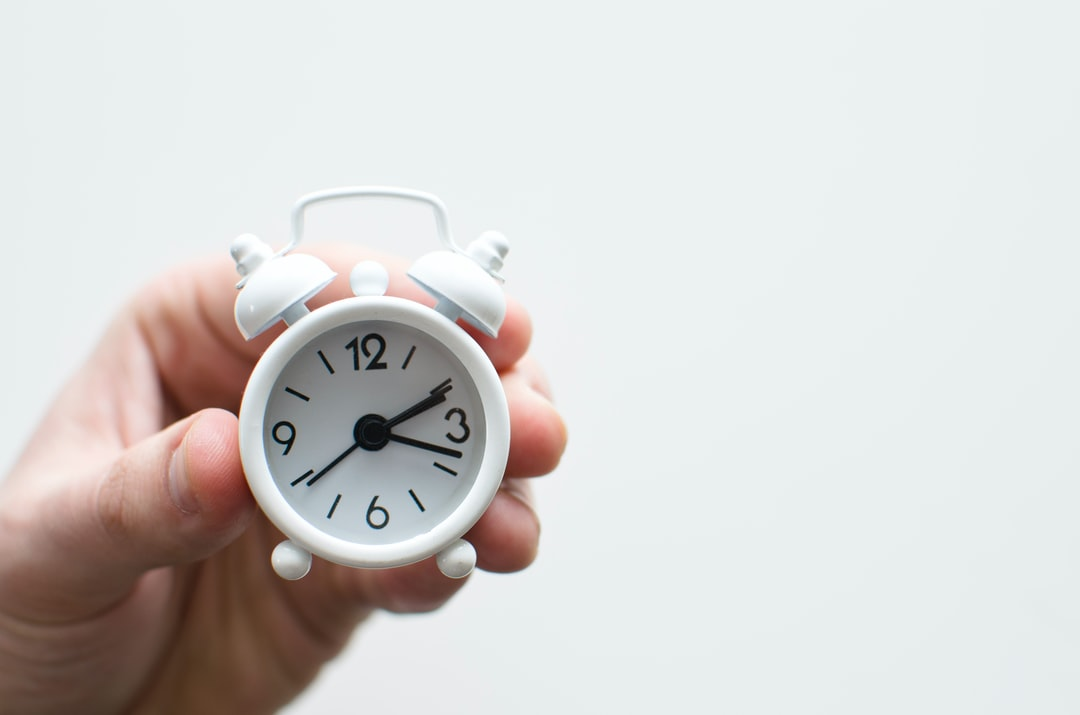 Alarm clock friends situation with hand