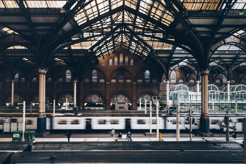 gray and black train station