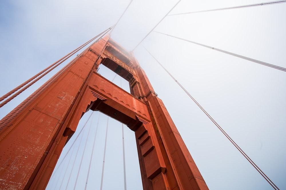 Golden Gate Bridge, San Francisco California in low angle photography