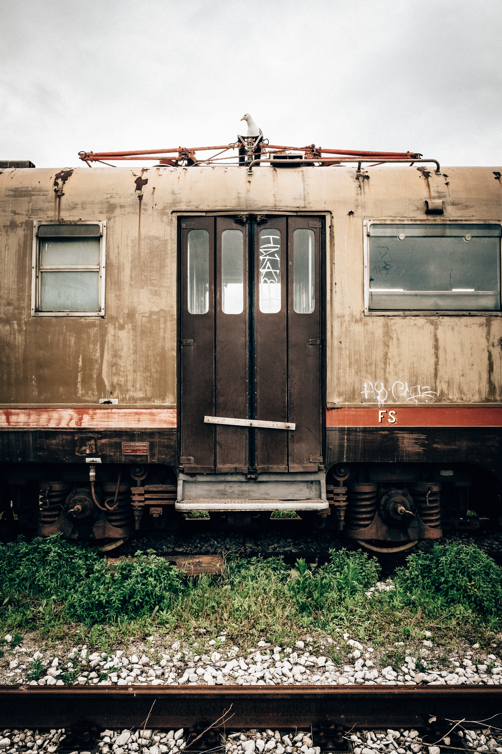 Abandoned train car on old tracks surrounded by weeds and rocks
