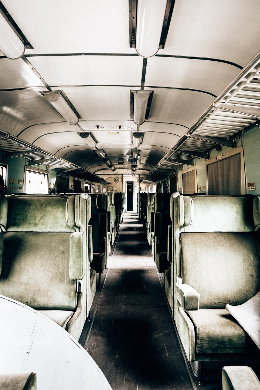 green and white train interiors