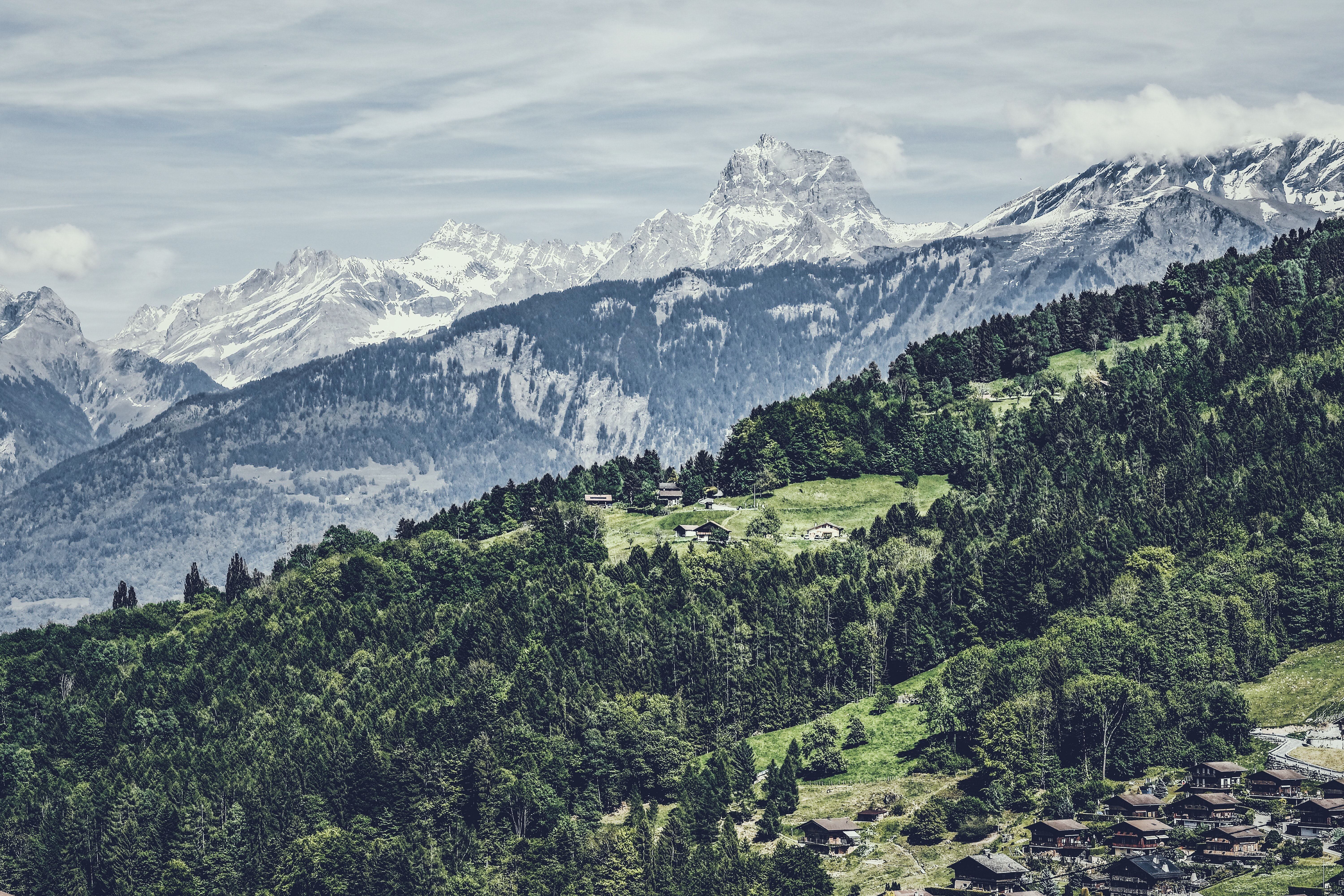 aerial photography of mountain