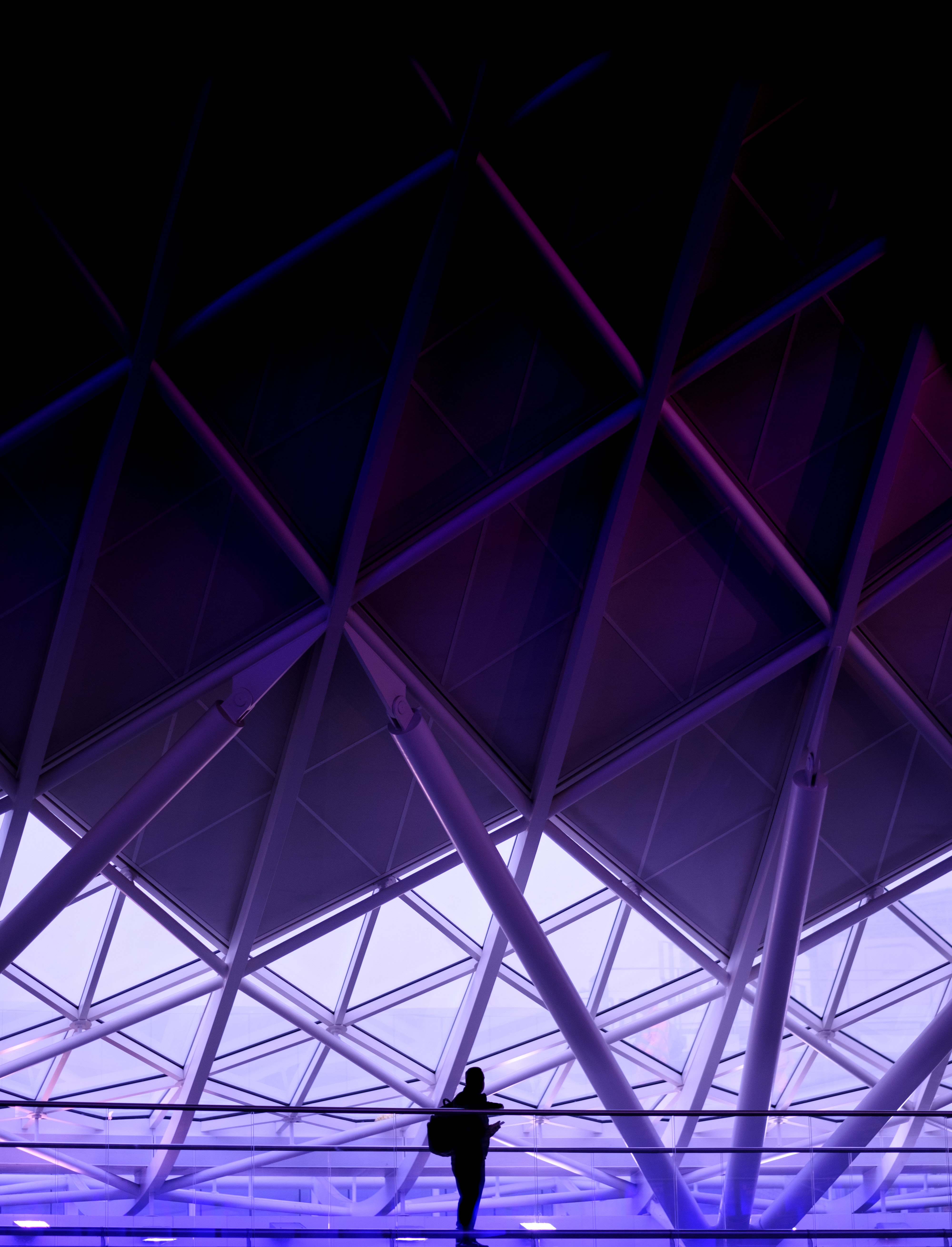 A silhouette of a person against the backdrop of a purple-hued steel structure