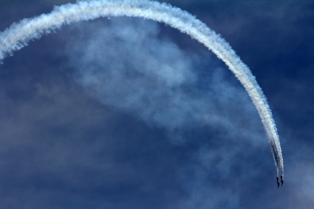 two jet fighters doing maneuver during daytime