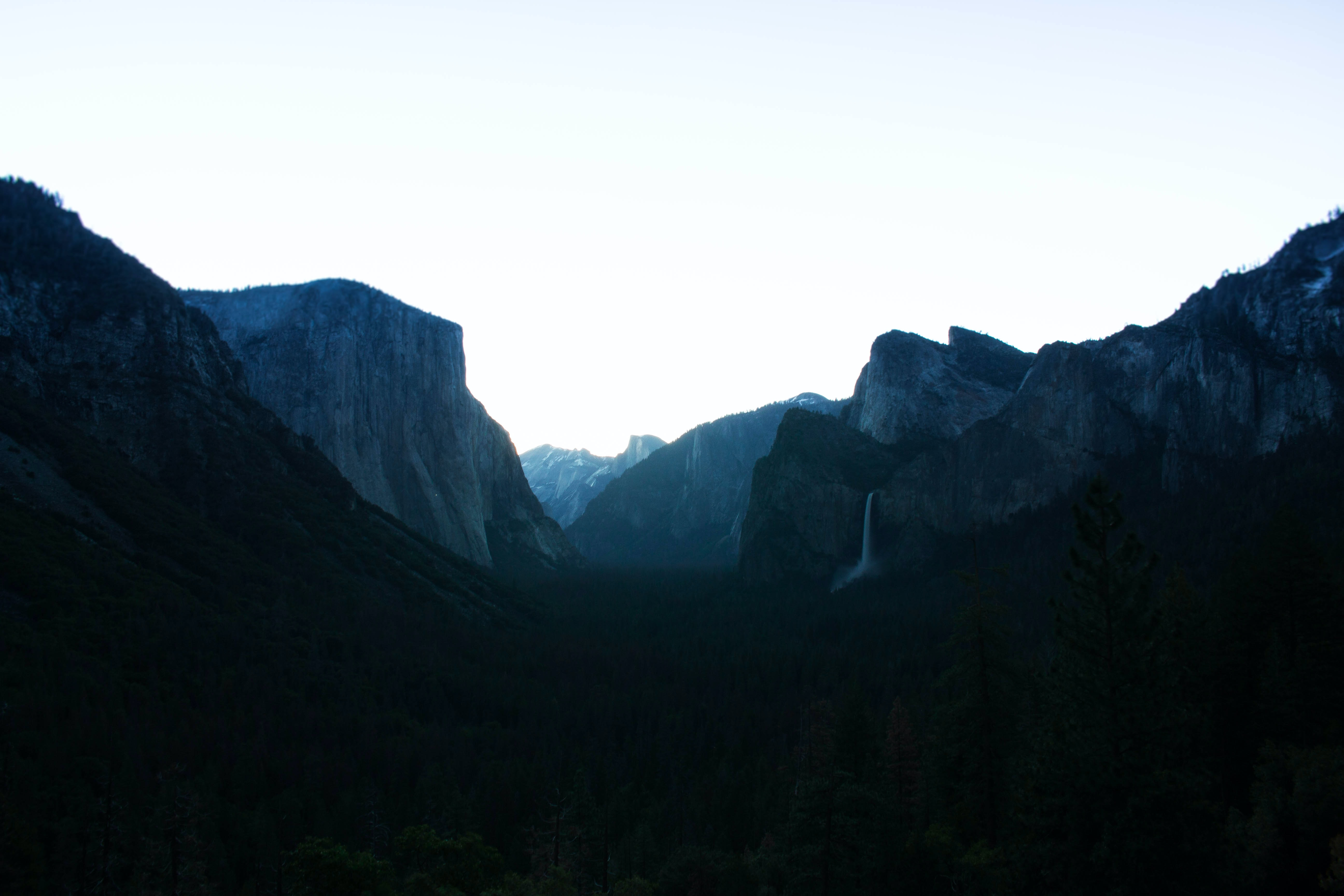 silhouette photo of mountain alps