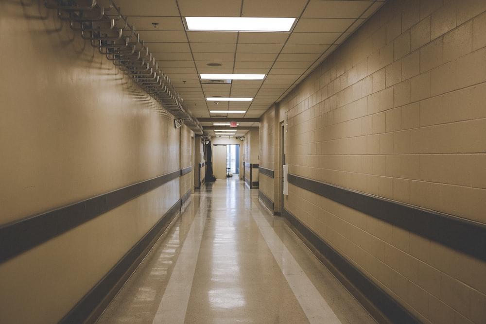 white and gray hallway