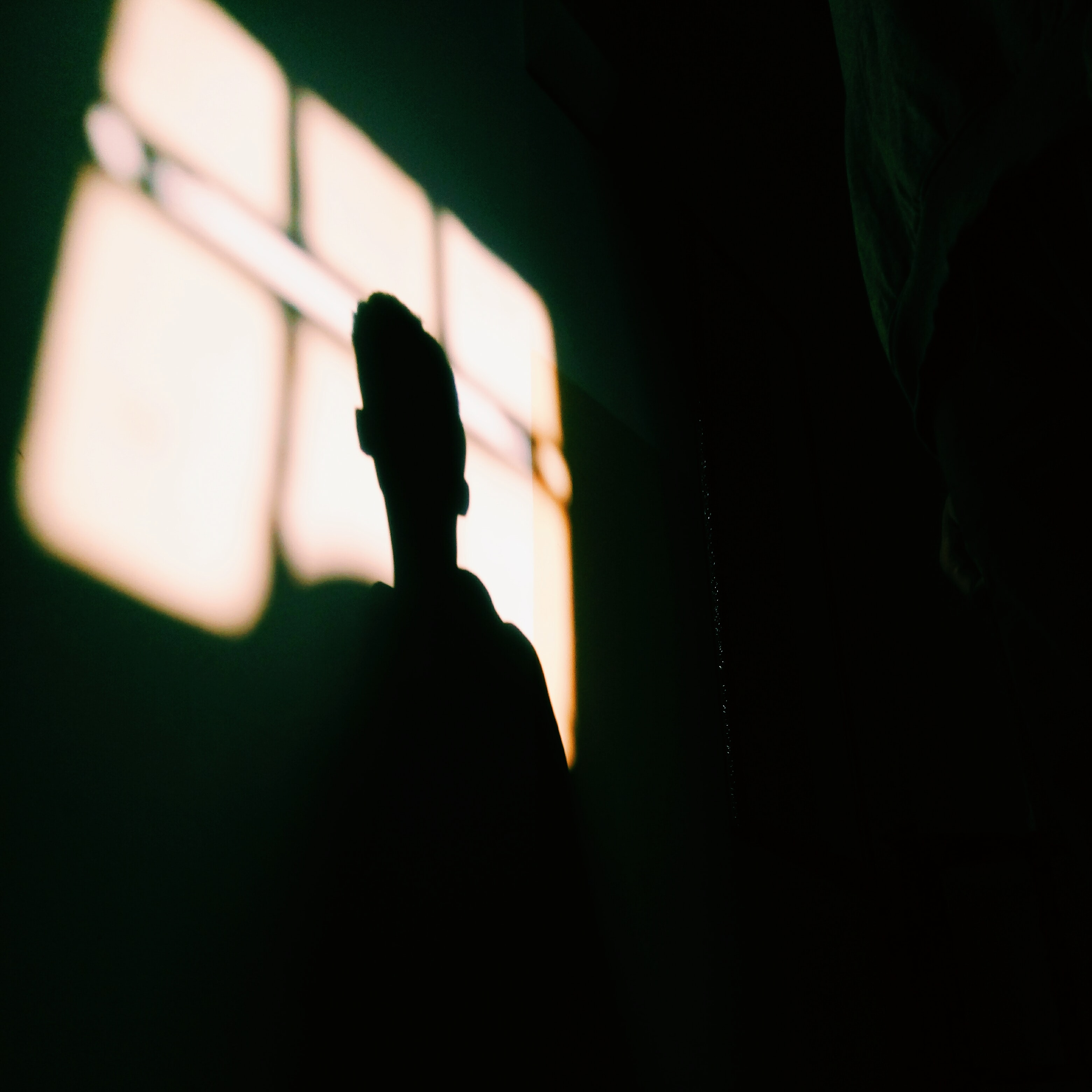 A shadow of a person's face on a bright patch on a dark wall