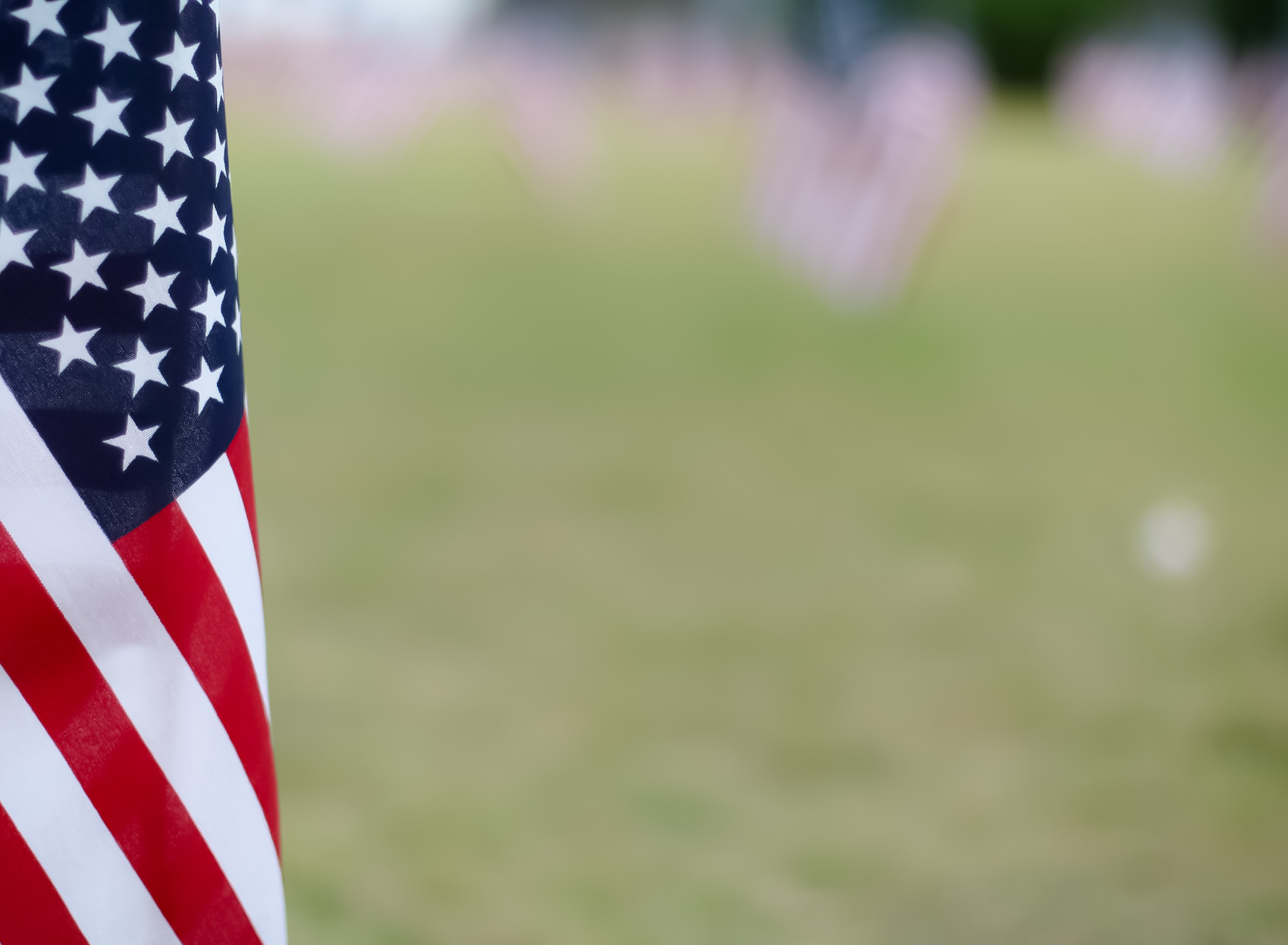 selective focus photography of American flag