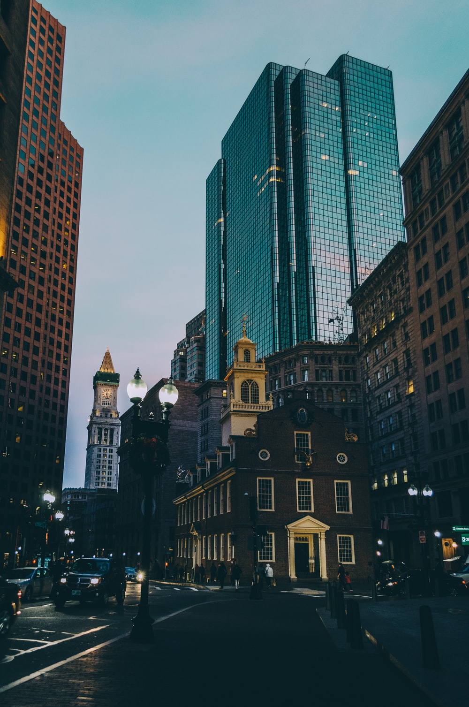 black high buildings at nighttime