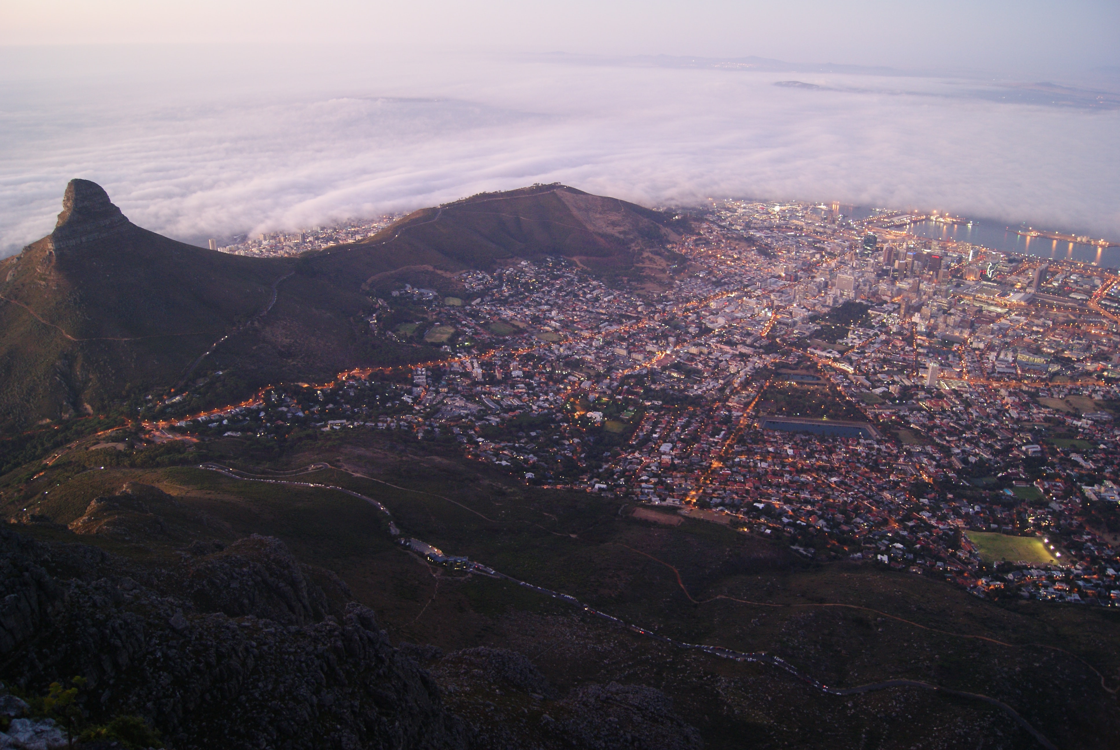 aerial view of houses and mountains