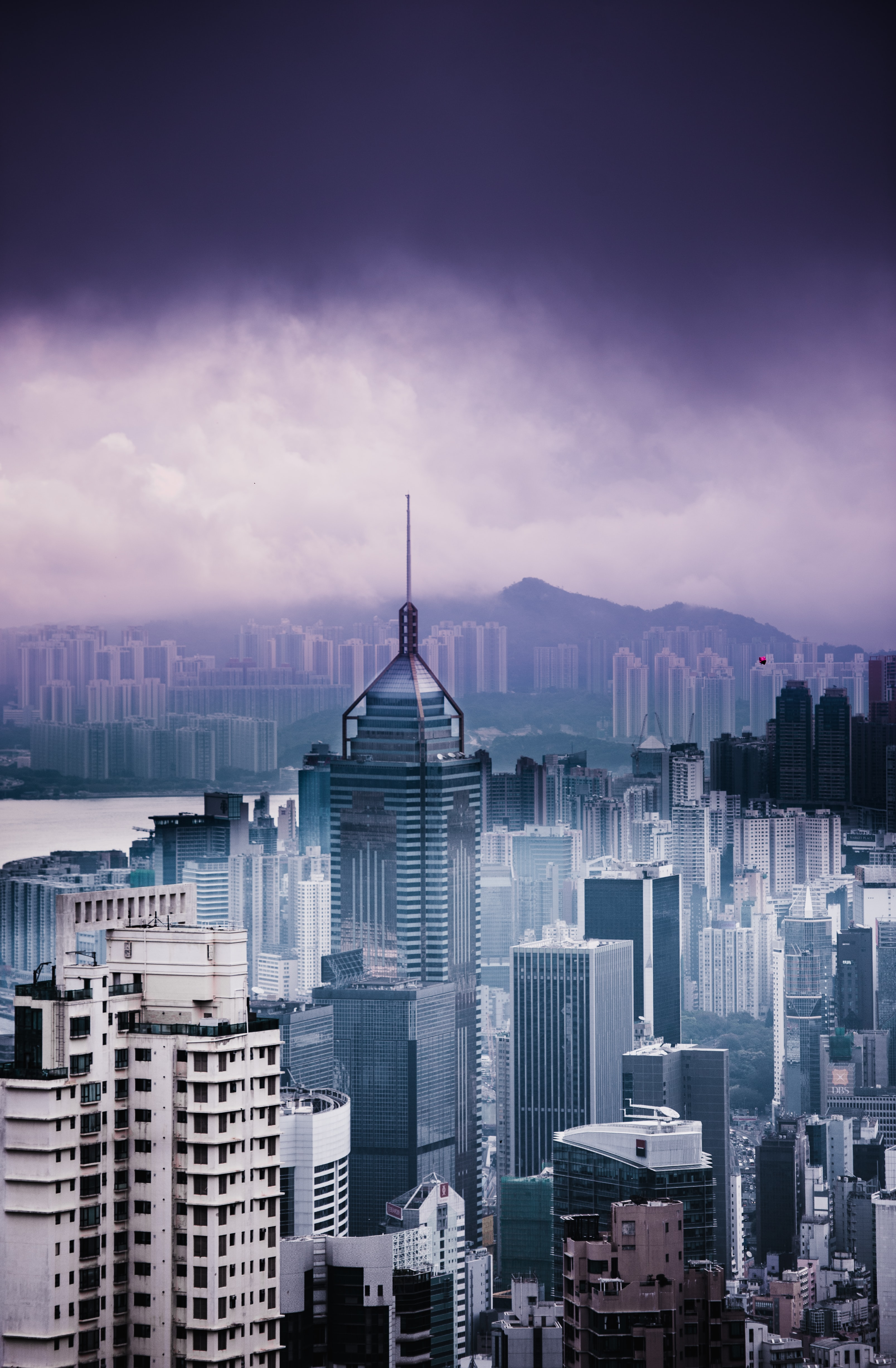 The skyline of Hong Kong under thick clouds