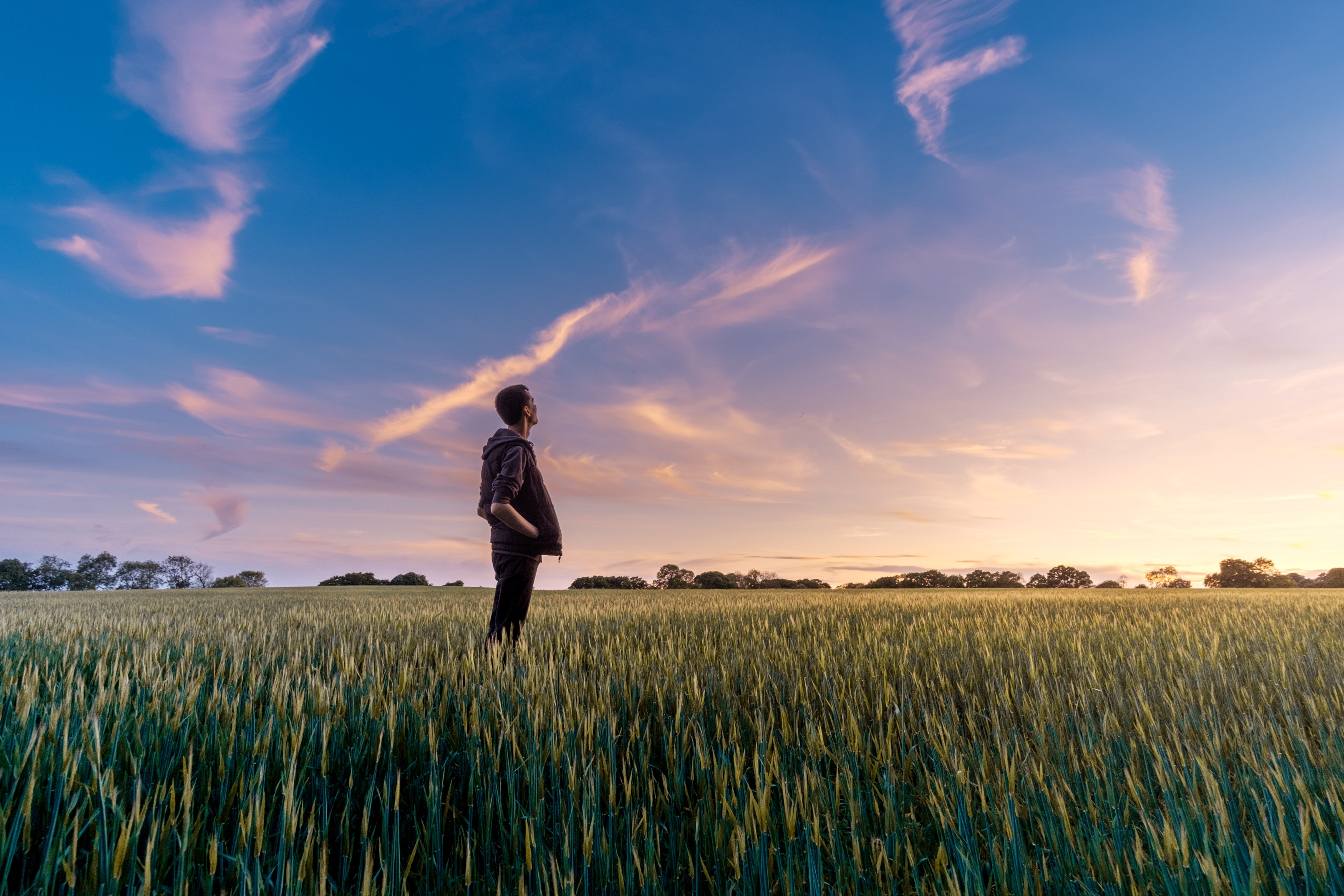 A guy standing in a field outside looking up at the sunset in Wooburn Green