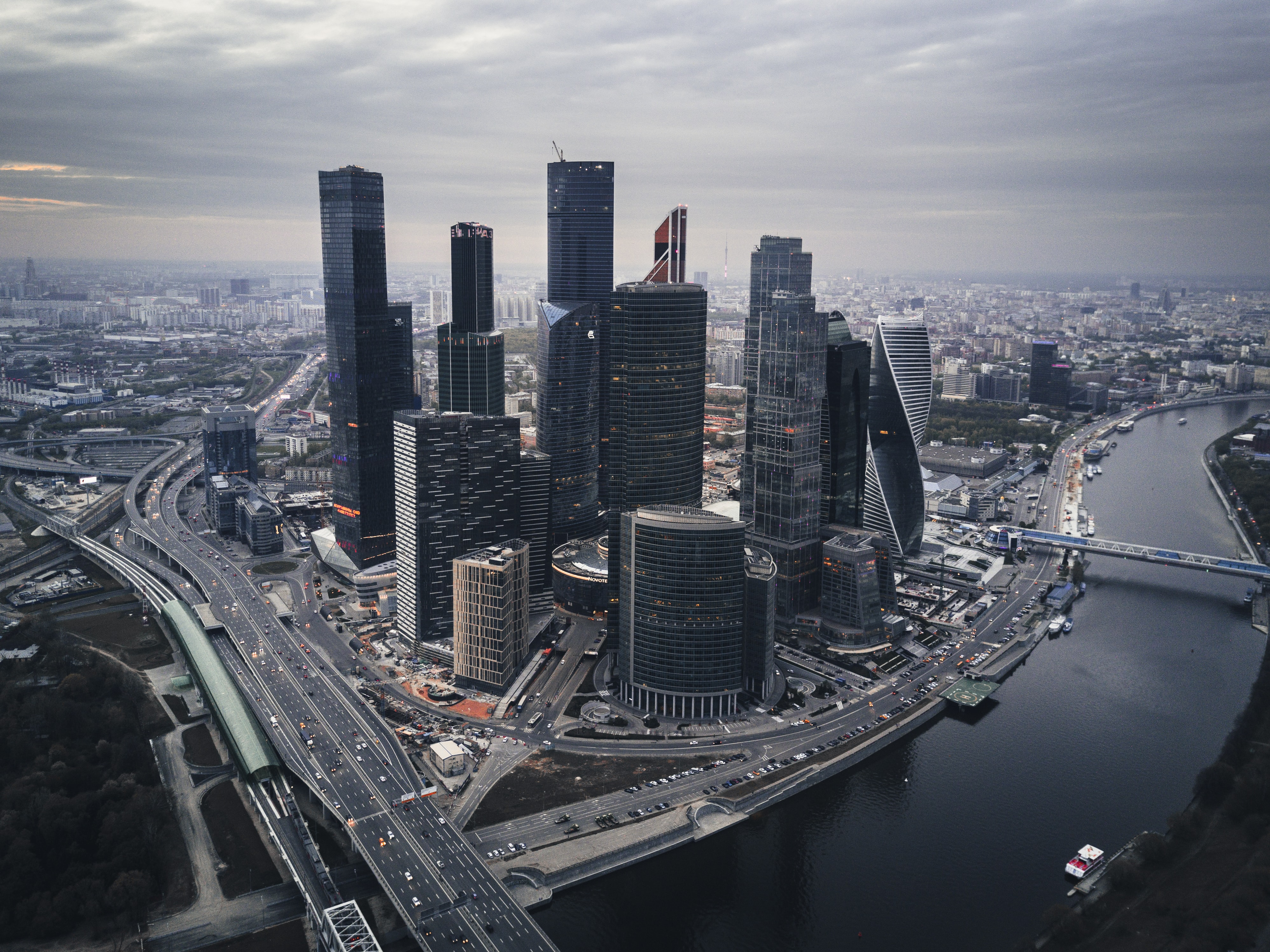 High-rises in Moscow by the Moskva river on a cloudy day