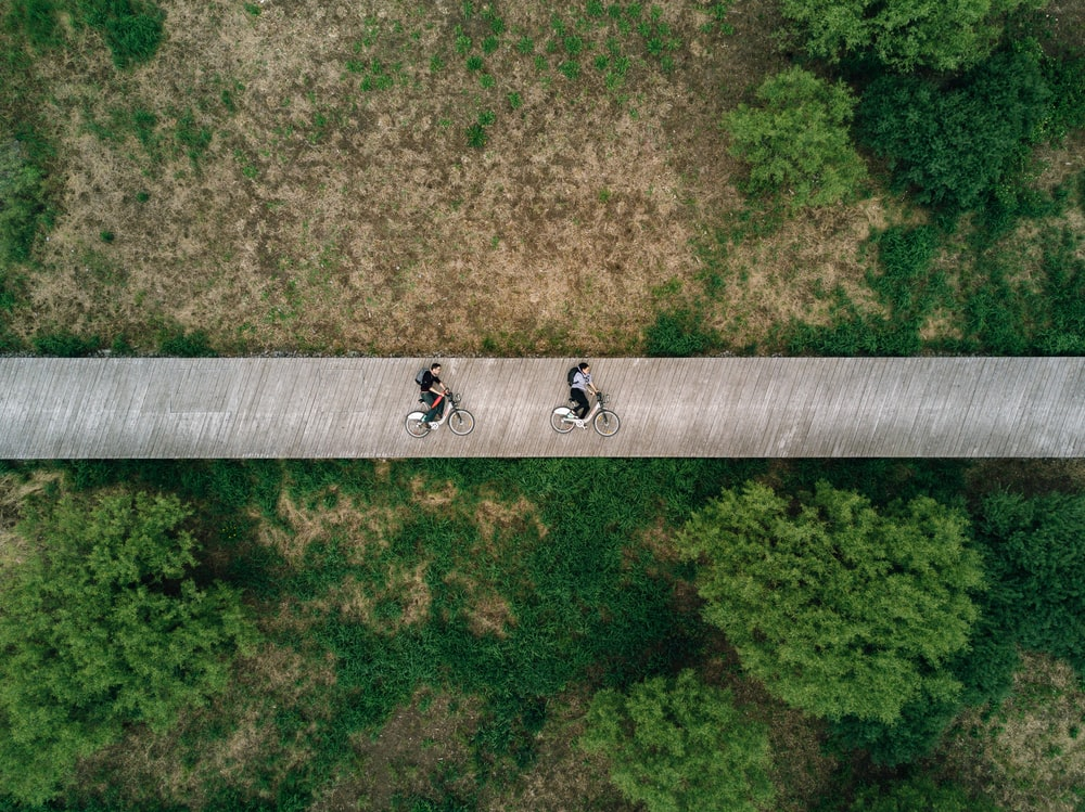 aerial view photography of two person on road