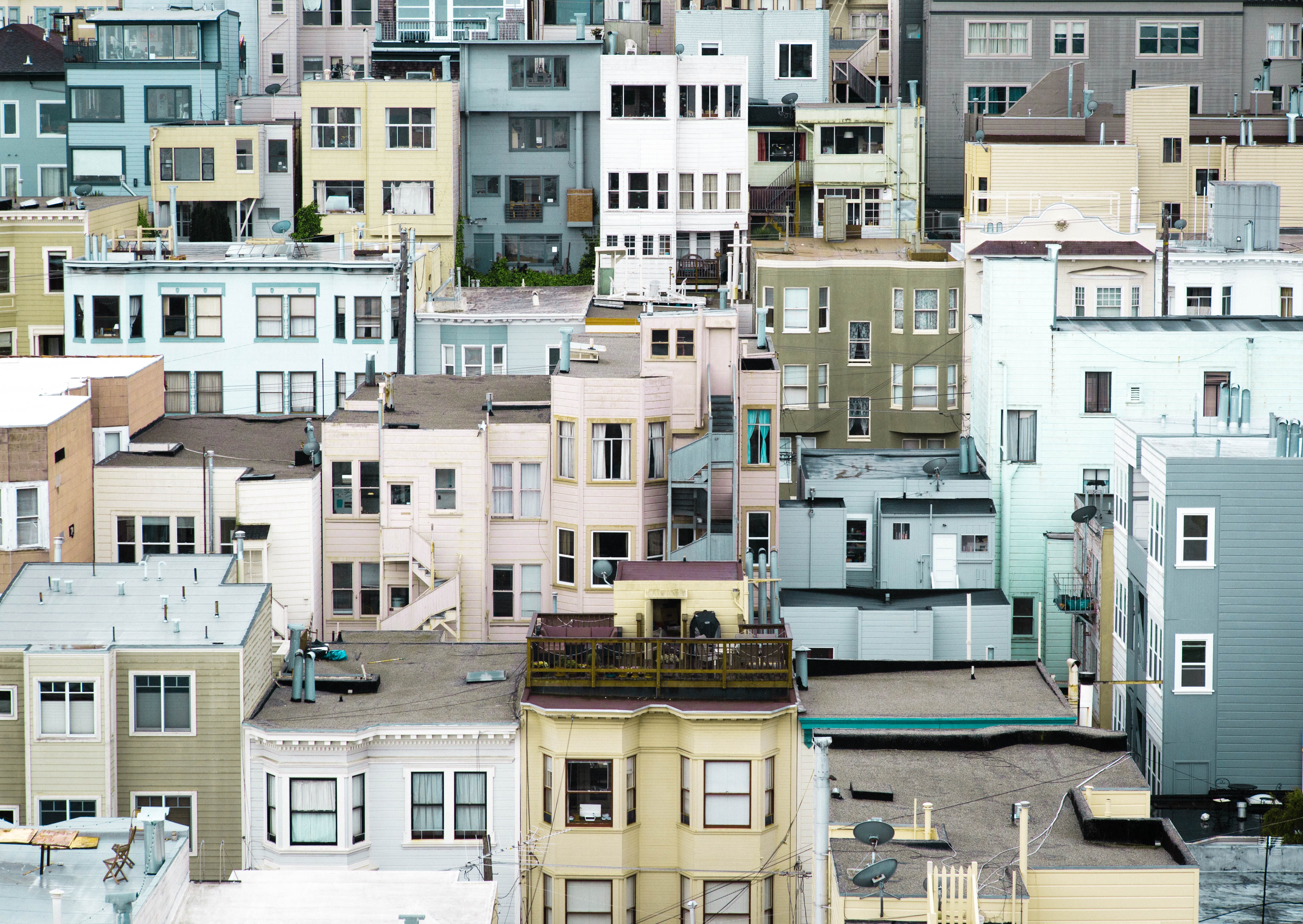 aerial photograph of colorful buildings