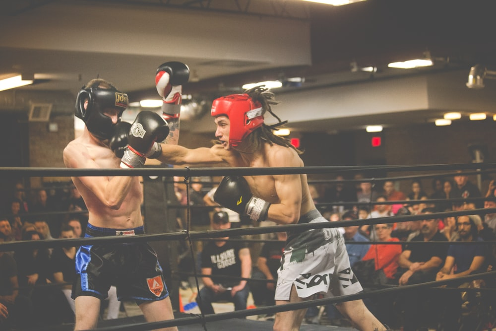 two person playing kick boxing