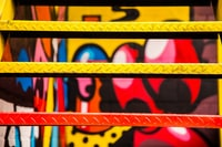 red and yellow painted metal stairs