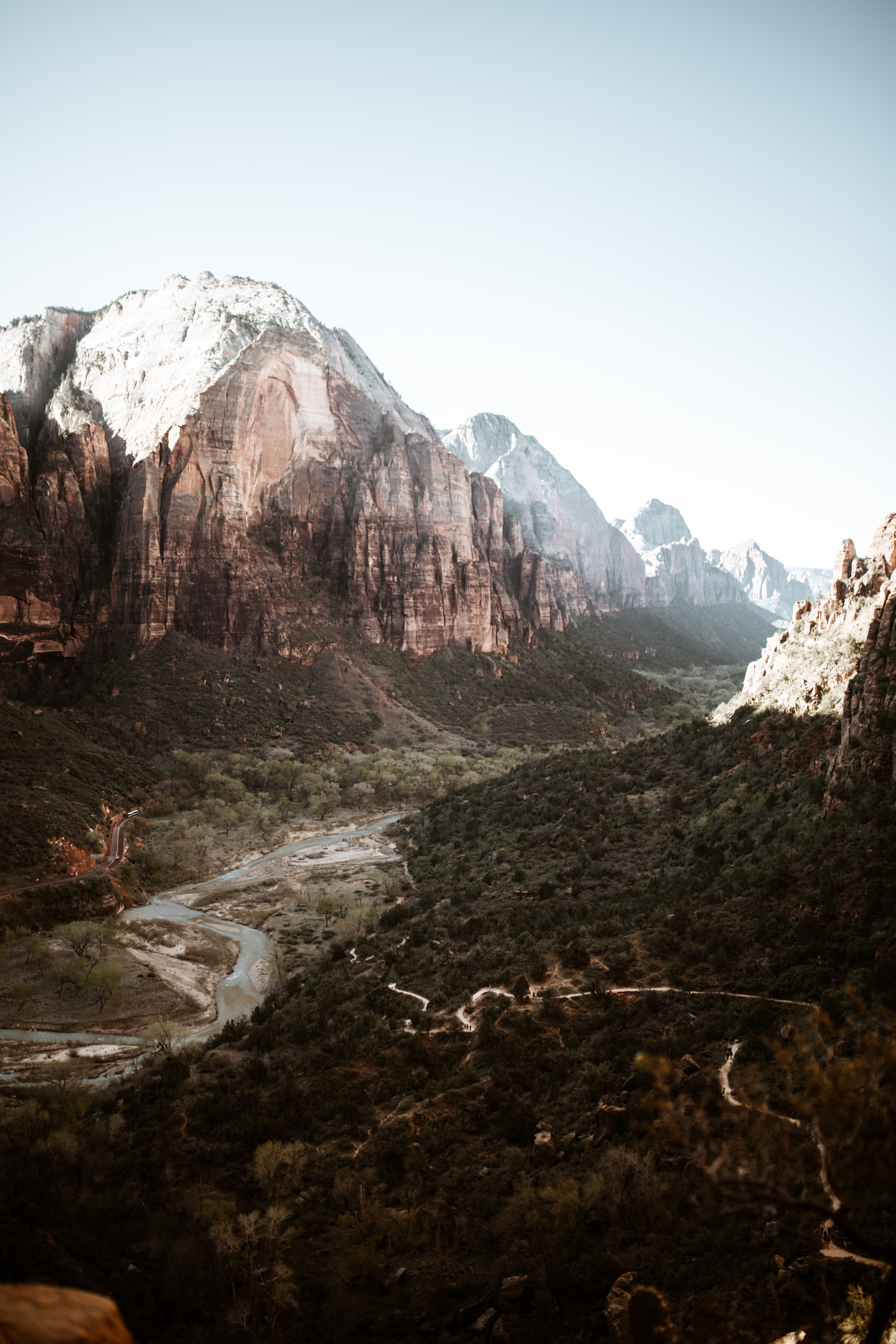 View of a valley in Zion National Park with a river flowing on its floor