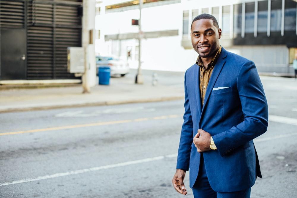 man in blue formal suit