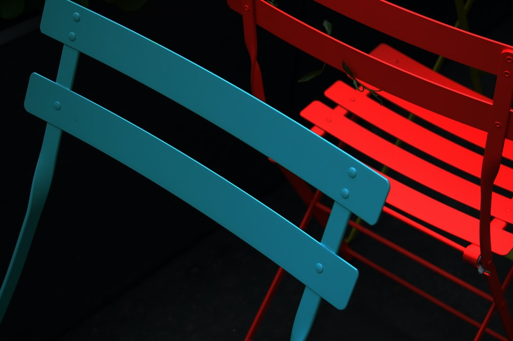 blue and red steel chairs