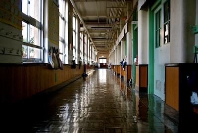 empty building hallway school teams background