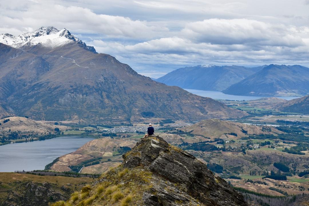 Hiker over a mountain village