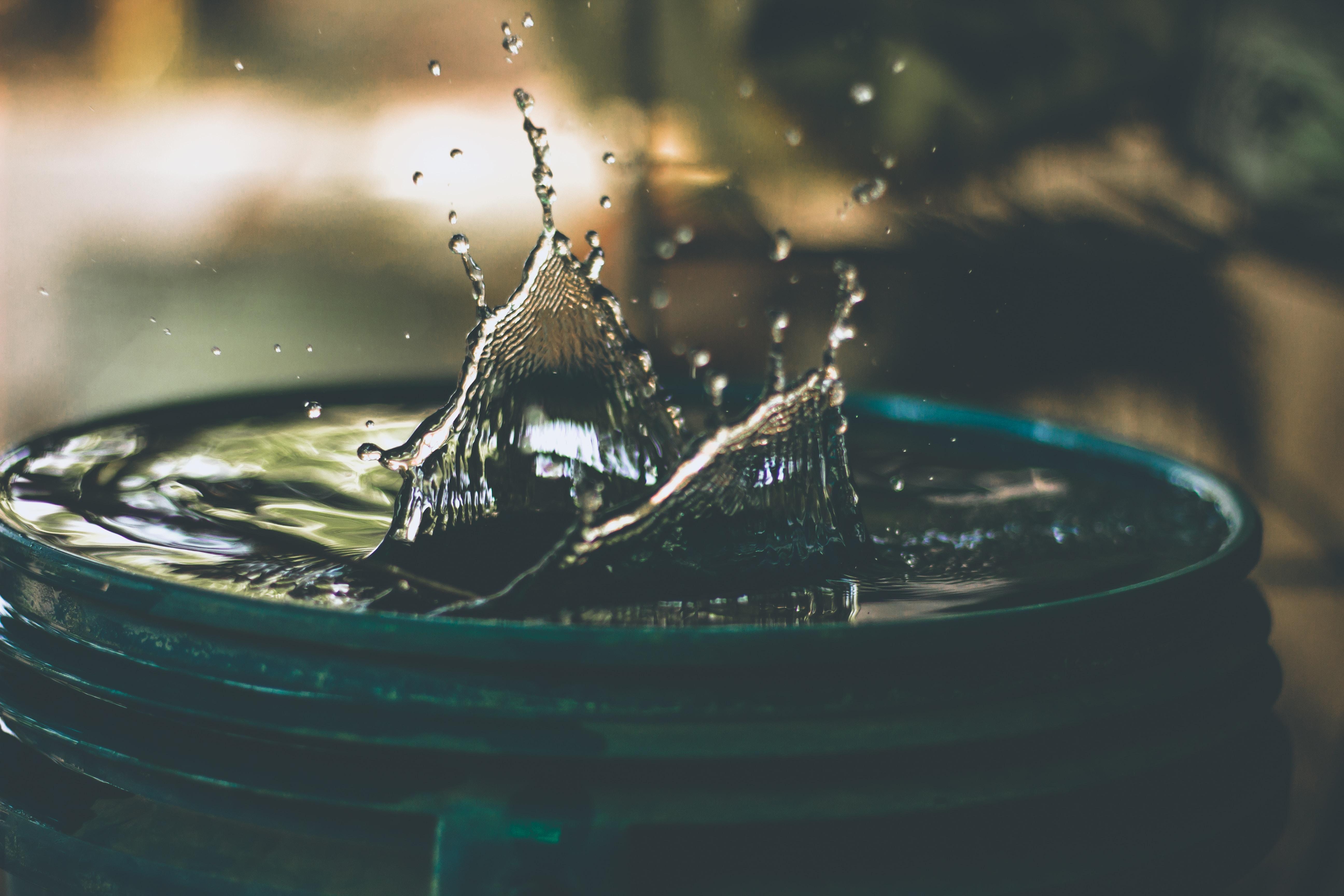 water drop on bucket photo