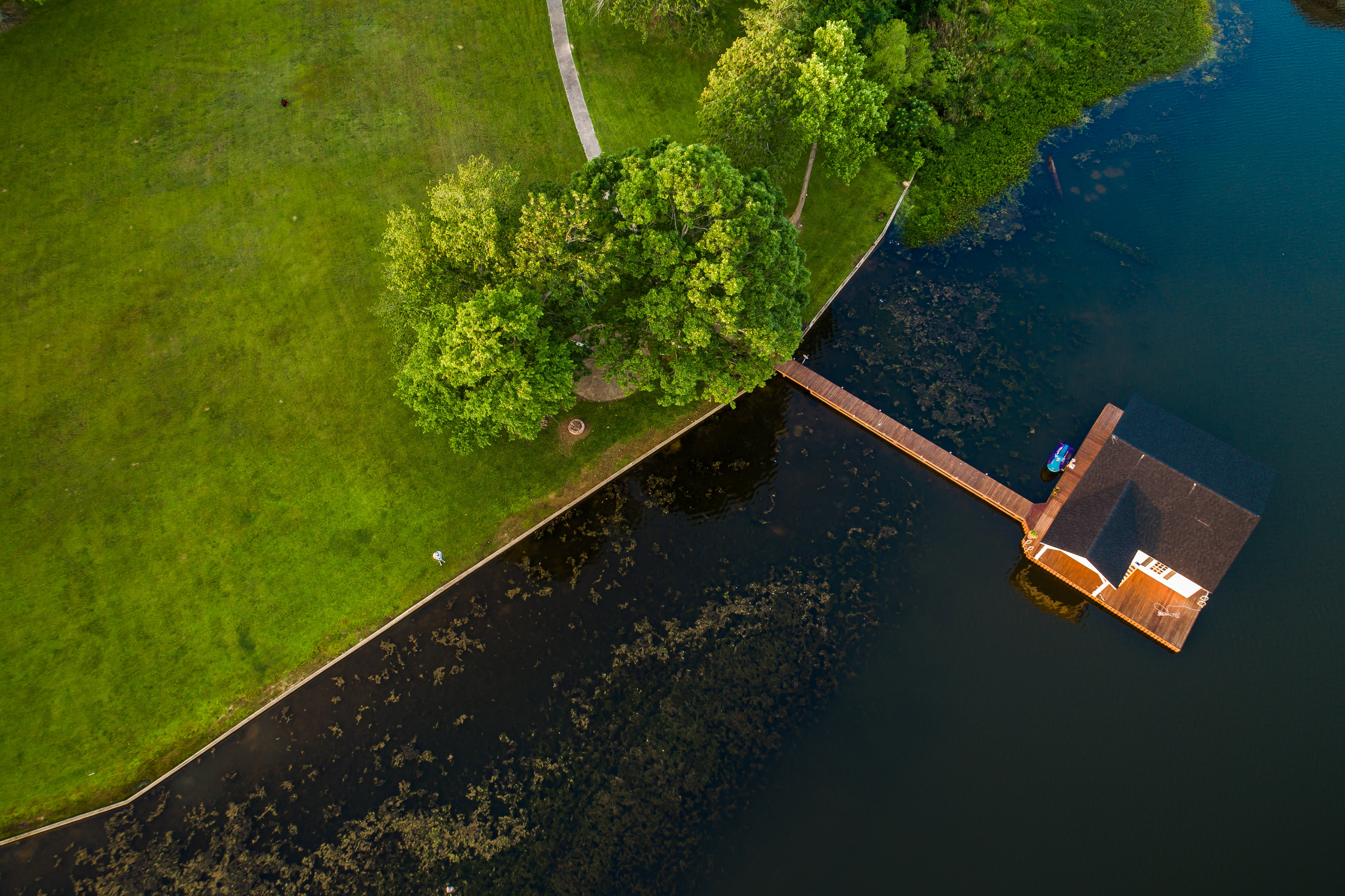 A drone shot of a boathouse on a lake near a green park