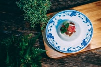 flat-lay photography of desert food on plate
